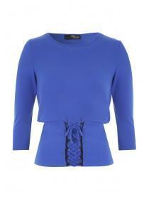 Jane Norman Blue Long Sleeve Corset Top