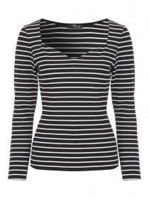 Jane Norman Navy and White Stripe Ribbed Top
