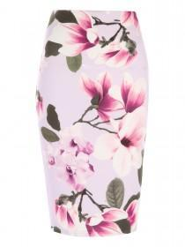 Jane Norman Pink Floral Pencil Skirt