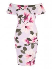 Jane Norman Floral Frill Bardot Dress