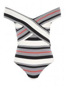 Jane Norman Stripe Bardot Wrap Bodysuit