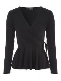 Jane Norman Black Wrap Peplum Top