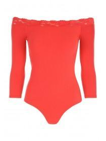 Jane Norman Red Lace Bardot Bodysuit