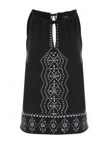 Jane Norman Black Studded Halterneck Cami Top