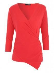 Jane Norman Red Ribbed Wrap Top