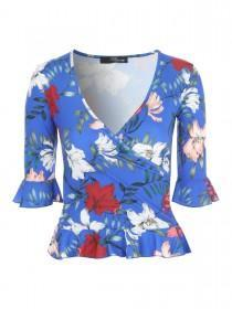 Jane Norman Floral Wrap Over Ruffle Hem Top