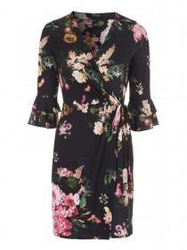 Jane Norman Floral Frill Sleeve Wrap Dress