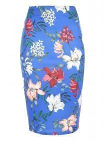Jane Norman Blue Floral Pencil Skirt