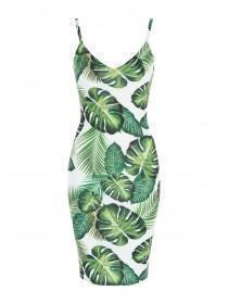 Jane Norman White Tropical Print Strappy Dress