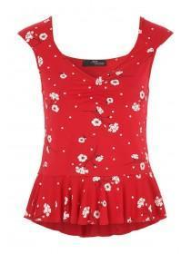 Jane Norman Red Floral Ruched Front Top
