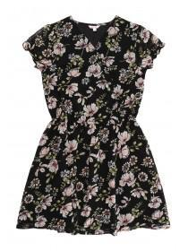 Older Girls Black Floral Tea Dress
