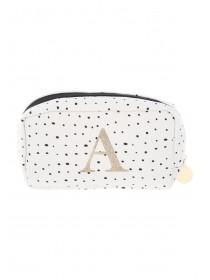 Women's White Initial A Cosmetic Bag