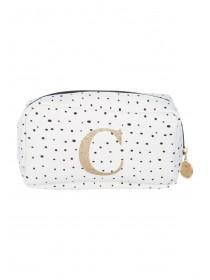Womens White Initial C Cosmetic Bag