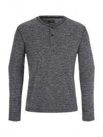 Mens Charcoal Grandad Collar Top