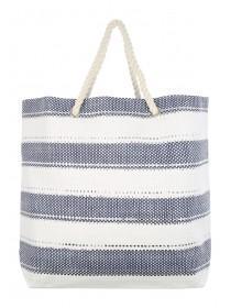 Womens Blue Nautical Stripe Beachbag