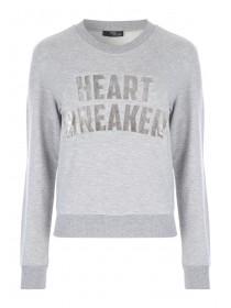 Jane Norman Grey Heart Breaker Slogan Jumper
