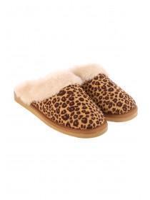Womens Leopard Print Mule Slippers