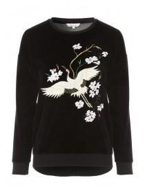 Womens Embellished Velour Sweater