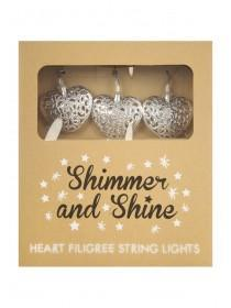 Silver Filigree Heart String Lights
