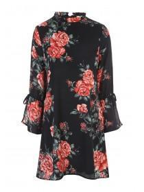 Womens Rose Print Tunic Dress