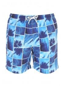 Mens Blue Beach Photo Swimshorts