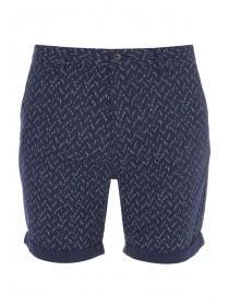 Mens Dark Blue Textured Printed Shorts