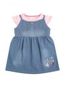 Baby Girls Blue Denim Dress & Frilled Top