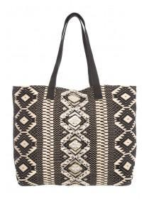 Womens Black Embellished Beach Bag