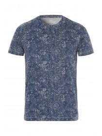 Mens Blue Leaf Print T-Shirt