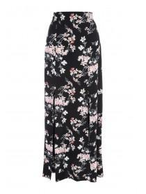 Womens Black Double Split Maxi Skirt