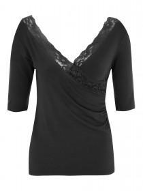 Jane Norman Black Lace Wrap Top