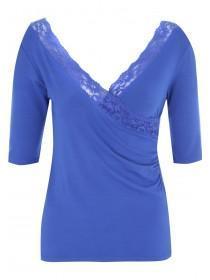 Jane Norman Blue Lace Wrap Top