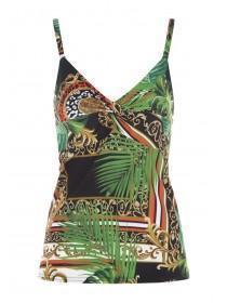 Jane Norman Palm Leaf Printed Twist Front Cami Top