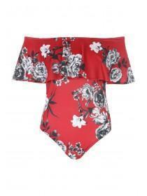 Jane Norman Floral Print Ruffle Bodysuit