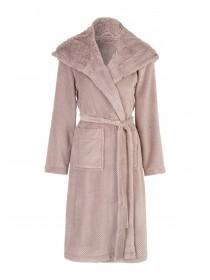 Womens Mocha Hooded Fur Robe