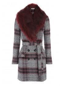 Womens Burgundy Check Faux Fur Coat