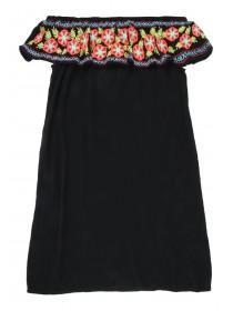 Older Girls Black Embroidered Frill Bardot Dress