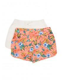 Younger Girls 2PK Orange Hibiscus Jersey Shorts