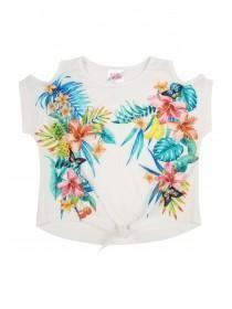 Younger Girls White Tropical T-Shirt
