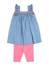 Younger Girls Blue Dress & Leggings Set
