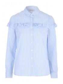Womens Blue Ruffle Trimmed Shirt
