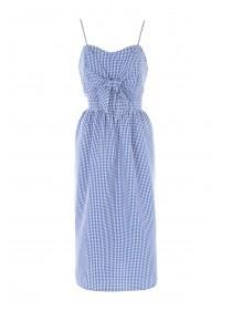 Womens Blue Bow Front Gingham Dress