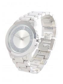Womens Silver Glitter Dial Watch