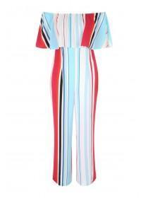 Womens Striped Frill Bardot Jumpsuit