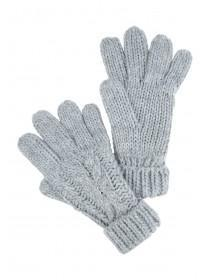 Older Girls Grey Cable Knit Gloves