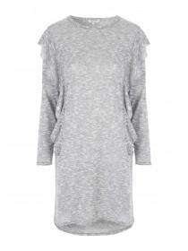 Womens Grey Frill Front Jersey Dress