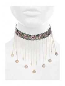 Womens Black Embroidered Coin Choker