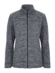 Womens Grey Marl Zip Up Fleece Jacket