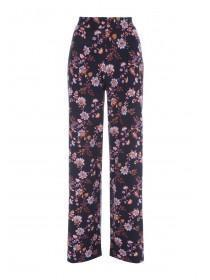 Womens Navy Floral Palazzo Trousers