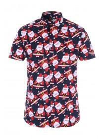 Mens Navy Christmas Short Sleeve Shirt